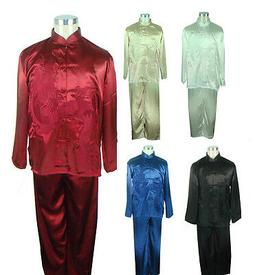 Free Shipping!Chinese Men's Embroider Dragon Kung Fu Sets Shadowboxing Costume