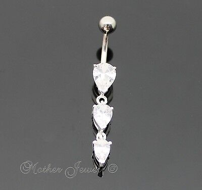 Pretty 925 Sterling Silver Tear Drop Clear Cz 316L Surgical Steel Belly Bar Ring