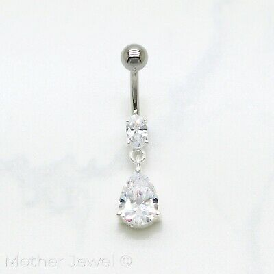 925 Sterling Silver Clear Tear Drop 316L Surgical Steel Navel Belly Bar Ring
