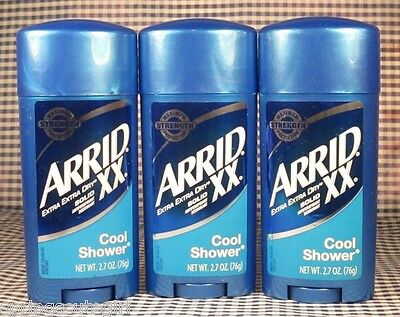 3 Arrid XX COOL SHOWER Solid Antiperspirant Deodorant 2.6 oz Each