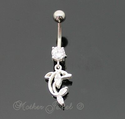 925 Sterling Silver Dangle Dolphin Clear Cz 316L Surgical Steel Belly Bar Ring