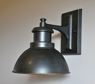 """TERMINAL""-VINTAGE INDUSTRIAL EXTERIOR WALL BRACKET-ANTIQUE BRONZE-porch light"