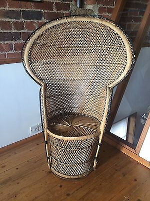 1970s Vintage Wicker Chair, Peacock Style, Mid Century