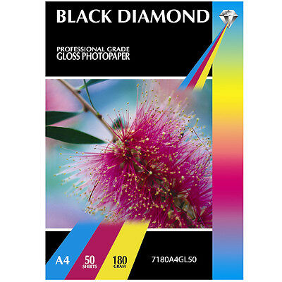 Black Diamond Instant Dry Premium A4 Gloss Coated Photo Paper 50 Sheets 180Gsm