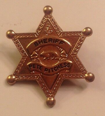 """SHERIFF BADGE 60'S PETER PITCHESS """"FAMOUS LOS ANGELES SHERIFF"""""""