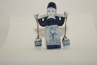 DELFT Blue  DUTCH BOY WITH 2 WATER PAILS MADE IN Korea