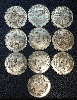 1999 THE SUNOCO MILLENNIUM COIN SERIES - Complete Set of 10 Coins - Nice - NCC