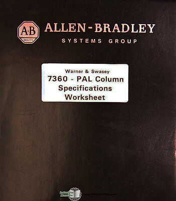 Allen Bradley 7360 PAL Column, Warner Swasey, Specifications Manual 1978