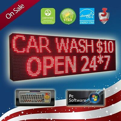 """LED SIGN 52""""x15"""" PROGRAMMABLE ONE COLOR 3 LINES *(PC & REMOTE)* SCROLLING BOARD"""