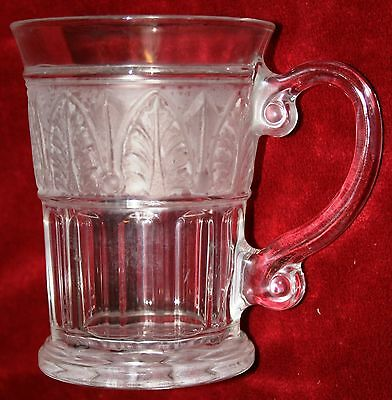 Antique Early American Pressed Glass Mug Arched Cathedral Frosted Leaf Band x4!