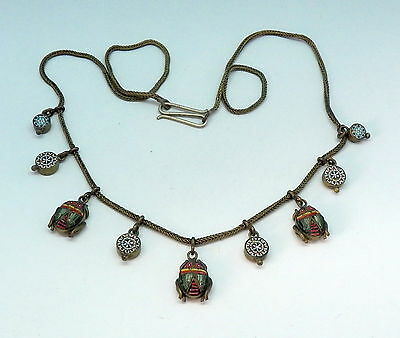 Vintage Antique Victorian Micro Mosaic Festoon Scarab Insect Beetle Necklace