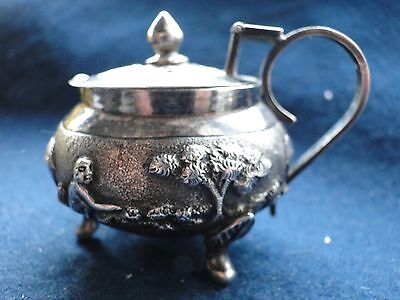 Sterling Silver Mustard Pot, Chased And Engraved, Small Size, India 1900