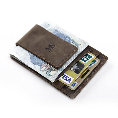 Men's Women's Crazy Horse Leather Magnetic Money Clip Wallet ID Card Holder
