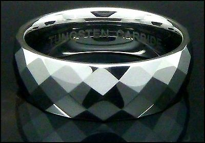 Mens Tungsten Carbide Ring Faceted Mirrored Wedding Engagement Band 8mm