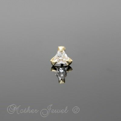 22G Genuine Real Solid 9K Yellow Gold 3Mm Cz Triangle Ball End Nose Ring Stud