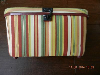Multi-Colored Sewing Basket With Removable Tray & Latch, 13 x 8.5 x 6.5