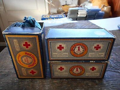 Three New Vintage Johnson & Johnson Red Cross Cotton First Aid Medical Boxes