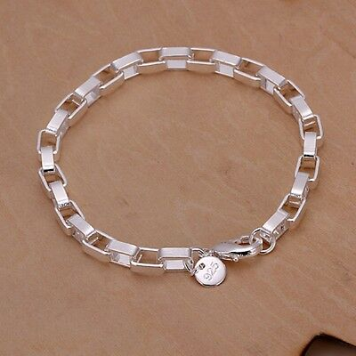 New Women Fashion 925 Sterling Silver Plated 5MM Box Cute Chain Bracelet Jewelry