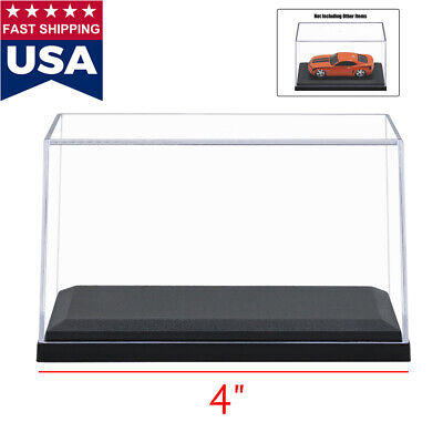 """4"""" Length Clear UV Acrylic Plastic Display Box Case Dustproof Protection Toy New"""