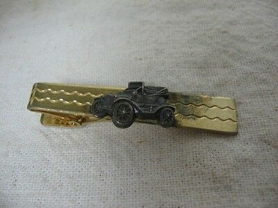 "ANSON Vintage Gold Tone ANTIQUE CAR AUTO Tie Clip Tie Clasp ~ 2"" Wide ~"