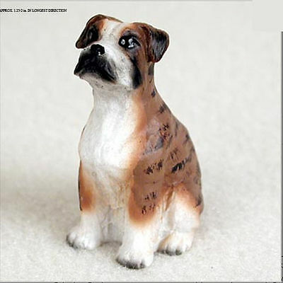 Boxer Collectible Mini Resin Hand Painted Dog Figurine Brindle Uncropped