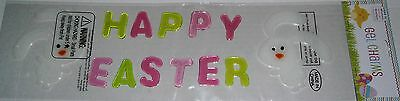 Easter Gel Window Stick -Ons HAPPY EASTER w/ TWO BUNNY RABBIT'S