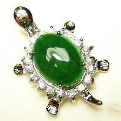 Beautiful green jade turtle Crystal pendant Necklace  +free Chain
