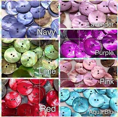 """20pcs 40L 25mm 1"""" Natural Color Real Pearl Shell Button Sewing Crafts Project"""