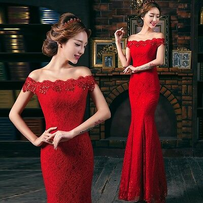Fashion Red lace formal long evening dress dinner party wedding bridesmaid dress