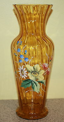 Early  Victorian Amber Enamel Hand~Painted Glass Vase