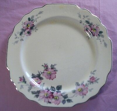 Vintage Lido W.S. George Canarytone Pink Rose Blossoms Gray Leaf Luncheon Plate