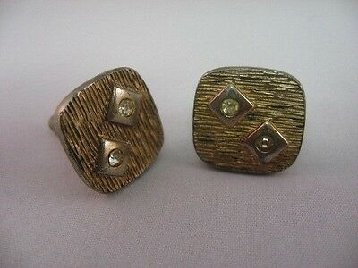 Vintage Mens Cufflinks: Textured Gold Tone w/ Two Clear Jewels ~ Some Wear ~