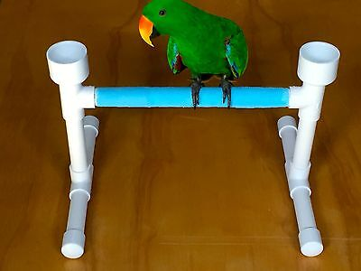 PARROT Table perch play stand gym w/ 2 food & water bowls conure, parakeet