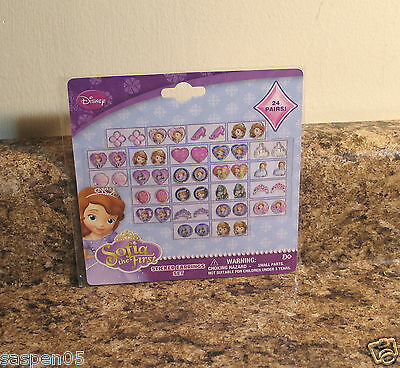 Disney Sofia The First Sticker Earrings Set 24 Pairs Dress Up Jewelry  NEW