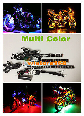6pc Multi Color 36 LED Motorcycle Lighting Neon Glow Lights Flexible Strips Kit