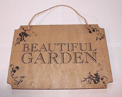 Beautiful Garden Vintage Shabby Chic Large Wooden Wall Hanging Patio Plaque Sign