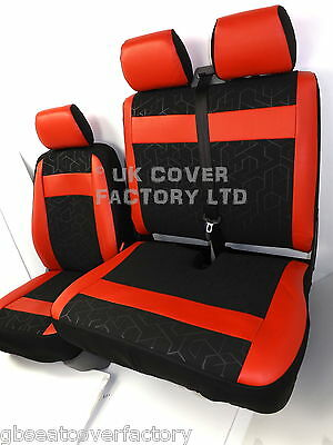Renault Trafic Vauxhall Vivaro Upto 2014  Van Seat Covers Red Inserts X53Rd