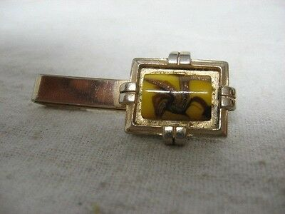Vintage PAINTED ART DECO STYLIZED BIRD on Yellow Insert Gold Tone Tie Clip Clasp