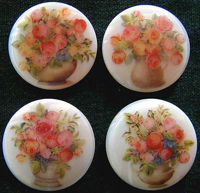 Collection of 4 Czech Glass Decal Buttons #A685-4 DIFFERENT VASE with FLOWERS