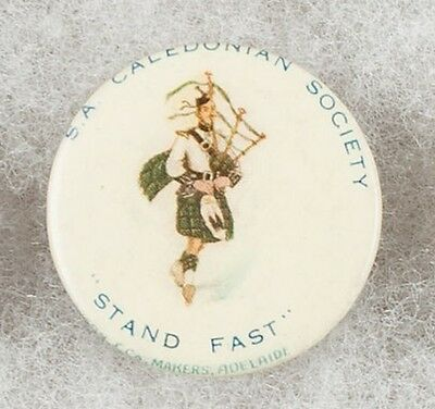 World War One South Australia Caledonian Society Stand Fast Pinback Button Badge