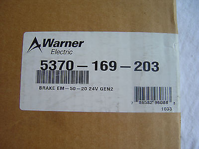 NIB Warner Electric Brake    5370-169-203    Brake  EM-50-20 24V