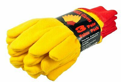 G & F 5414-3 Heavyweight Yellow Chore Gloves Double Layer, Large, 3 Pair Pack