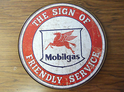 Mobilgas Gas Oil Friendly Service Round Tin Metal Sign Wall Decor Advertising