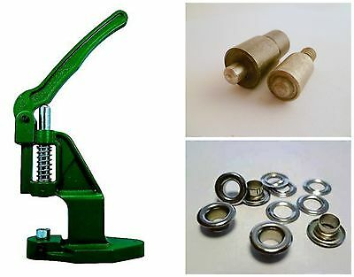 Eyelet press + Tool + 100 Eyelets 6,0mm steel silver, for Leather, Textile, Felt