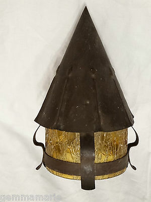 Mission Arts & Crafts Antique Light Fixture Wall Sconce w/ Amber Art Glass Shade