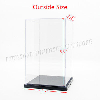 "Acrylic 8""H Perspex Plastic Display Box Self-Assembly Case Dustproof Figure New"