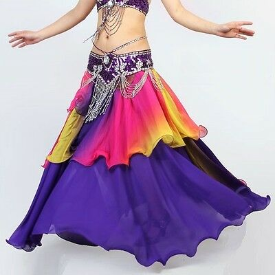 Q1107# Belly Dance Costume Gradient Silk-like 3 Layers Skirt 20 Colors