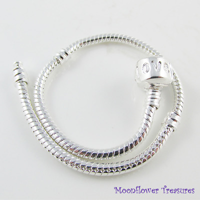 19cm Silver Plated Charm Bracelet, Love Clasp, fit European Beads