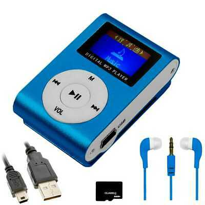 Mini lettore MP3 con Radio FM clip Blu + Cuffia + Cavo Mini USB + Micro SD 8GB