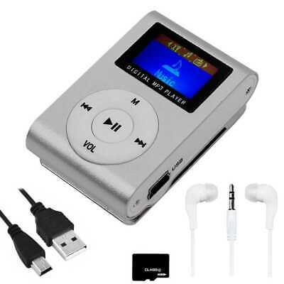 Mini lettore MP3 Radio FM clip Grigio + Cuffia + Cavo Mini USB + Micro SD 8GB